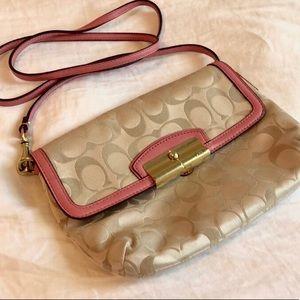Pink and Cream Coach Handbag